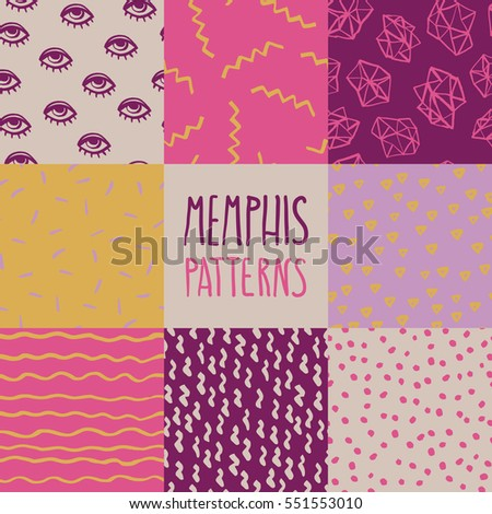 Abstract Seamless Pattern In Memphis Style Hand Drawn Vintage Background Sketch Design For Print