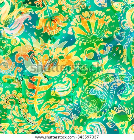 Abstract seamless pattern in watercolor style