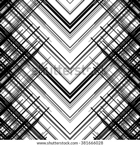 Abstract Seamless Pattern. Lines Abstract background. Geometric Monochrome Background. Black and White Colors. Black Techno Texture. Abstract Ornament for Textile Design. - stock vector