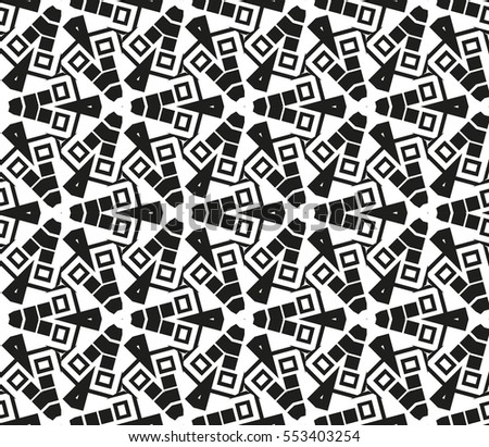 Abstract seamless pattern. Mirror geometric ornament. Vector illustration black and white color