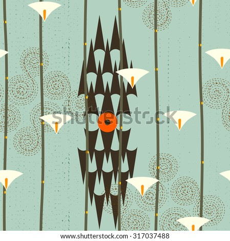 Abstract seamless pattern. Modern style motif. Lotus flowers, water lily and geometry elements on teal background - stock vector