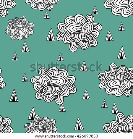 Abstract seamless pattern of clouds and rain. Vector illustration. - stock vector
