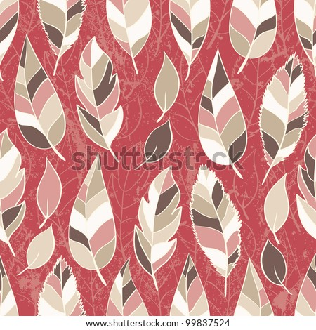Abstract seamless pattern of colored leaves. EPS 8 vector illustration - stock vector