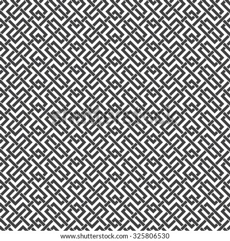 Abstract seamless pattern of intersecting lines. Swatch of black lines on a white background. - stock vector