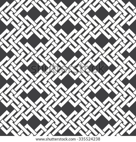 Abstract seamless pattern of intersecting lines. Swatch of white lines on a black background. - stock vector