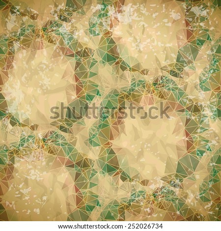 Abstract seamless pattern of polygonal rings on old paper - stock vector
