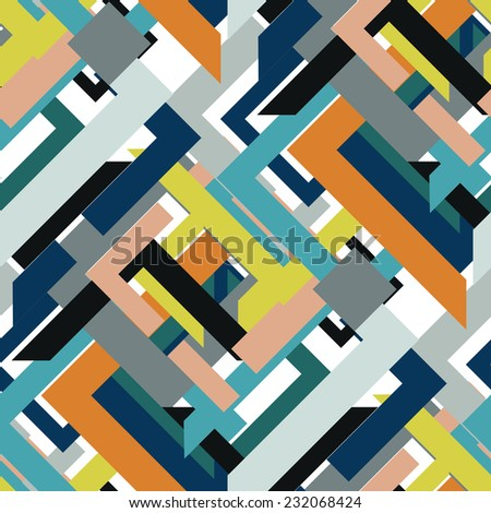 Abstract seamless pattern of triangles and lines - stock vector
