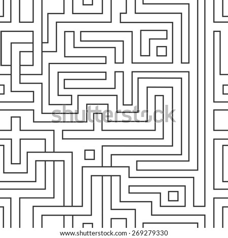 Abstract seamless pattern resembling a maze. - stock vector