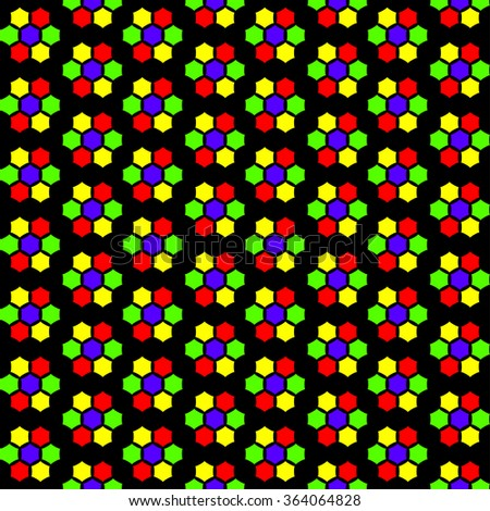 Abstract seamless pattern stained-glass multicoloured mosaic background. In yellow, red, green and violet colours on the black background. Vector illustration eps - stock vector