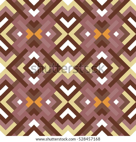 Abstract seamless pattern. Vector geometric background of triangles in white, orange and brown colors. Mosaic texture for design