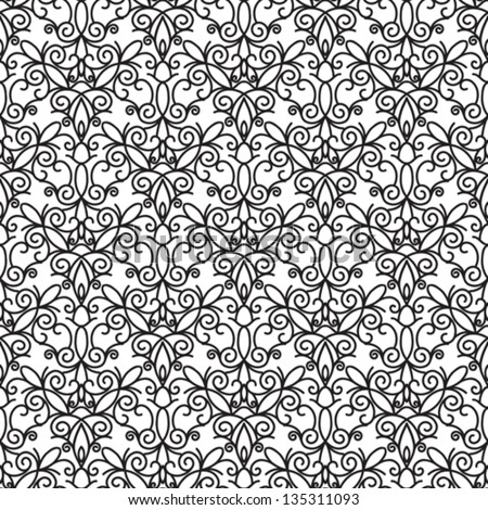 Abstract Seamless Pattern Vintage Vector Ornament Black And White Background