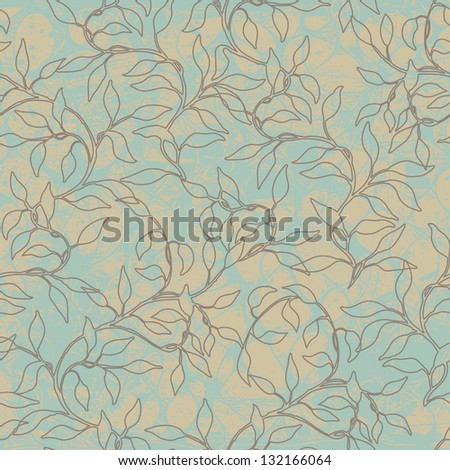 abstract seamless pattern with branches of leaves, vector illustration - stock vector