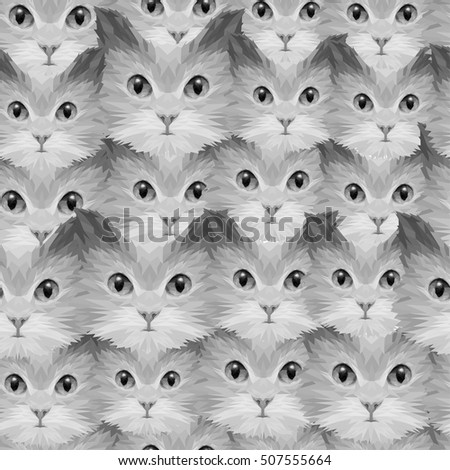 Abstract seamless pattern with cat heads, vector, design for textile texture, card, print