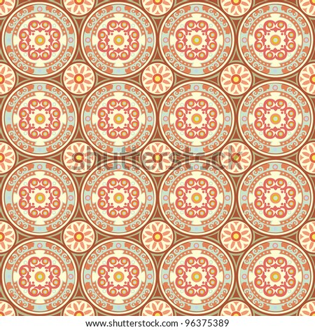 abstract seamless pattern with circles in retro colors - stock vector