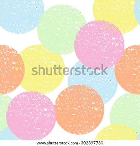 Abstract seamless pattern with colorful textured circles. Positive, bright background for textile, wallpaper and other surfaces. - stock vector