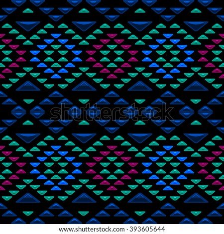 Abstract seamless pattern with ethnic aztec ornament. Boho chic style wallpaper. Gemstones imitation.