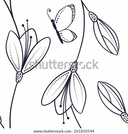 Abstract seamless pattern with flowers and butterfly in sketch style. Outline style vector illustration in black and white - stock vector