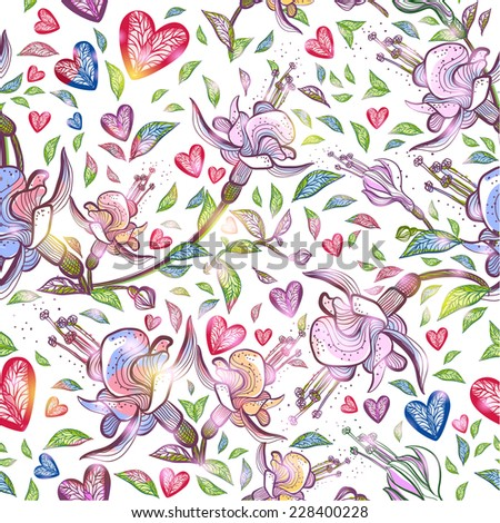 Abstract seamless pattern with flowers and hearts. Vector illustration, EPS 10  - stock vector