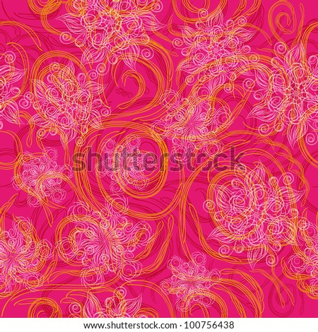 abstract seamless pattern with flowers. Vector background