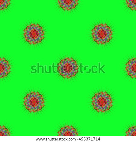 Abstract seamless pattern with fractal mandala on a light green background - stock vector