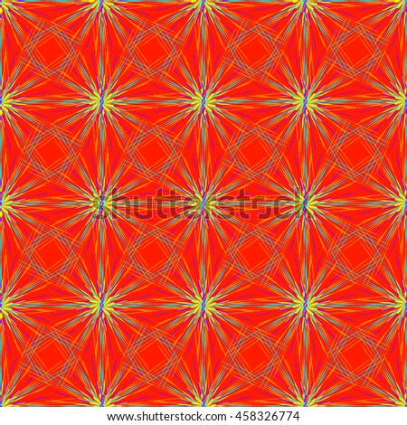 Abstract seamless pattern with fractal star on a bright red background - stock vector