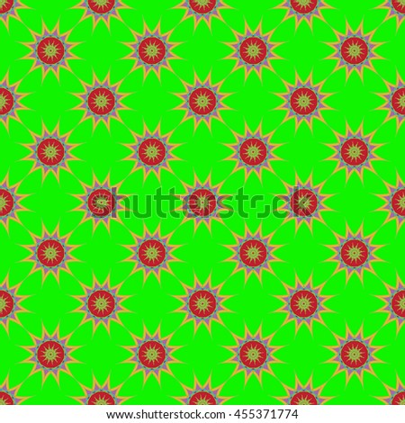 Abstract seamless pattern with fractal star on light green background. - stock vector