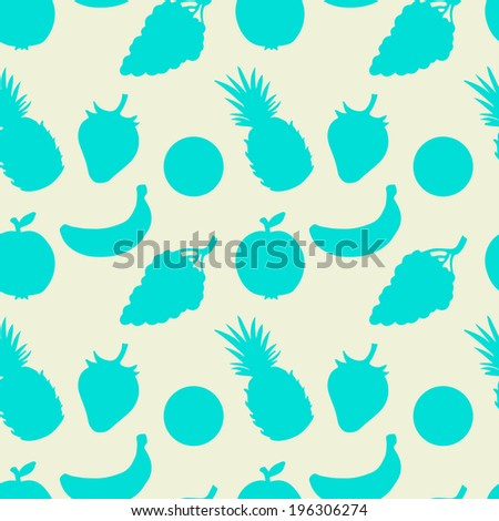 Abstract seamless pattern with fruits and berries. Summer. Food background. Pineapple. Strawberry. Apple. Oranges. Grapes. Banana. Endless print silhouette texture - vector - stock vector