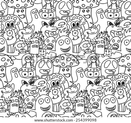 Abstract seamless pattern with funny monsters in black and white colors. Vector illustration.