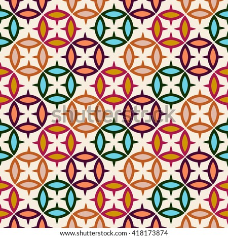 Abstract seamless pattern with geometric ornaments, wrapping paper. - stock vector