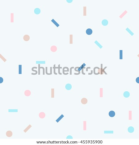 Abstract seamless pattern with geometrical figures. Vector background with circles and lines. Multicolored texture with simple elements