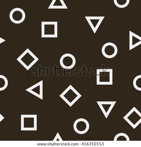 Abstract seamless pattern with geometrical figures. Vector background with circles, triangles and squares. Monochrome texture with simple elements