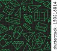 Abstract seamless pattern with green geometric figures, diamonds and lines on black background.  Vector illustration.   - stock vector