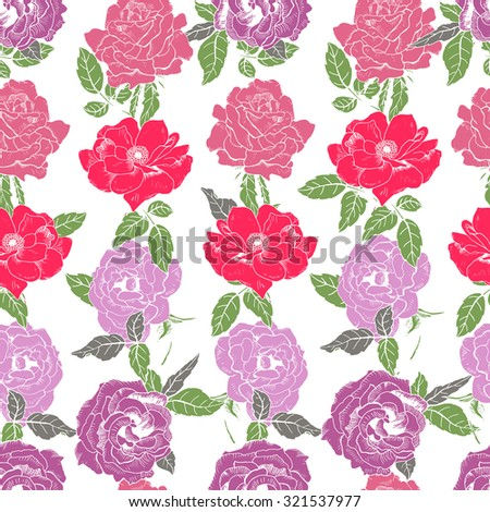 Abstract seamless pattern with hand drawing isolated red and white roses on white background. Vector illustration.