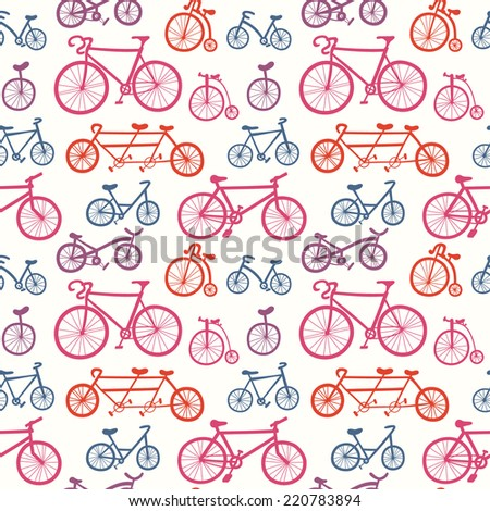 Abstract seamless pattern with hand drawn bicycles. Multicolored bikes ornament - stock vector