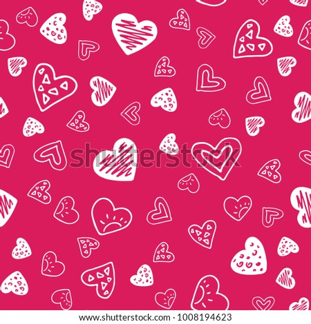 Abstract seamless pattern with hand drawn hearts. Valentines Day illustration. Design for wallpaper, wrapping paper home textile and romantic desorations.