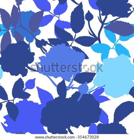 Abstract seamless pattern with hand drawn isolated blue roses silhouettes on white background. Vector illustration. - stock vector