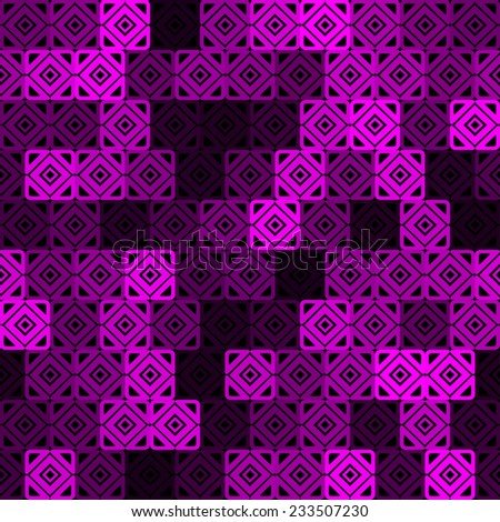 abstract seamless pattern with interesting  pink squares - stock vector