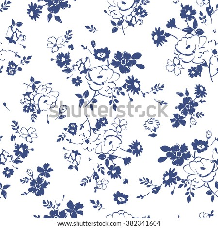 Abstract seamless pattern with isolated blue and white hand drawing flowers. Vector illustration. - stock vector