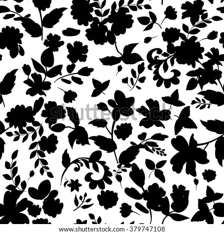 Abstract seamless pattern with isolated flowers silhouettes on white background. Vector illustration. - stock vector