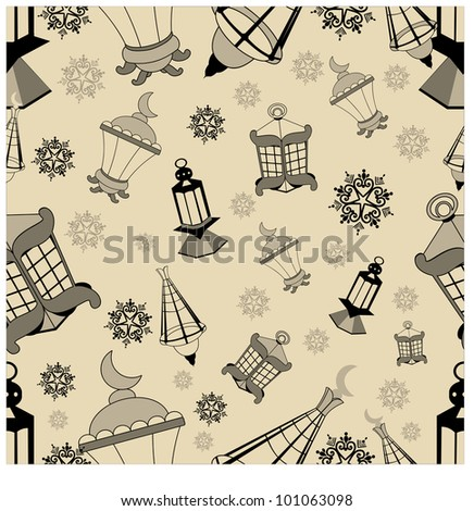 Abstract seamless pattern with lantern for Ramadan or Ramazan. Vector illustration in EPS 10. - stock vector