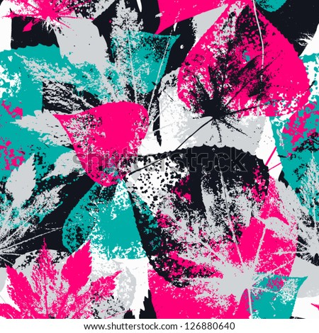 Abstract seamless pattern with leaves and flowers  Background with flowers grunge texture - stock vector