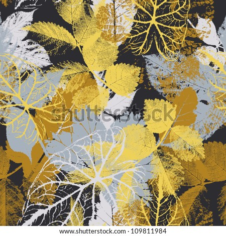 Abstract seamless pattern with leaves  Background with flowers grunge texture - stock vector