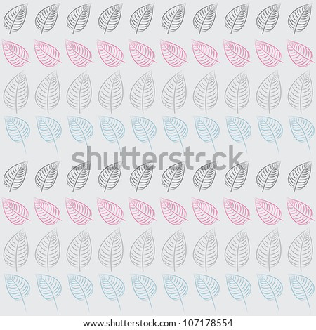 Abstract seamless pattern with leaves. Blue, pink, gray paper. Summer  background.