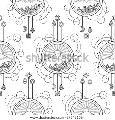 Abstract seamless pattern with mountains, sun and cherry flowers on white background. Modern wallpaper, textile print, coloring page.