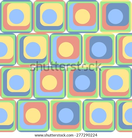 Abstract seamless pattern with shapes: circles, squares and squares with rounded corners. Pattern for fabric.Stock vector.