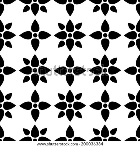 Abstract seamless pattern with silhouettes flowers in black and white. Floral repeating monochrome background. Endless print texture. Fabric design. Wallpaper - vector - stock vector