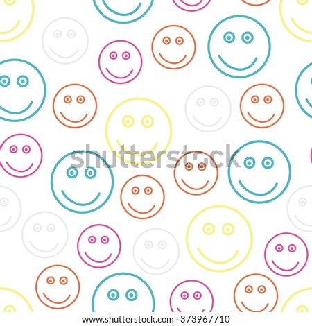 Abstract seamless pattern with smiling faces. Vector illustration. - stock vector