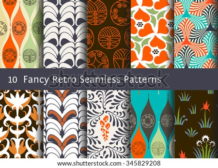 Abstract seamless patterns. Geometrical and floral ornamental motifs. Retro style set - stock vector