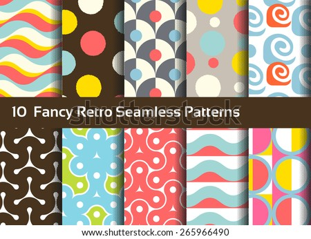 Abstract seamless patterns. Geometrical and ornamental motifs. Retro style