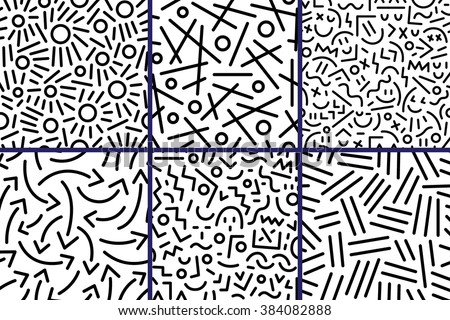 abstract seamless patterns with lines - stock vector